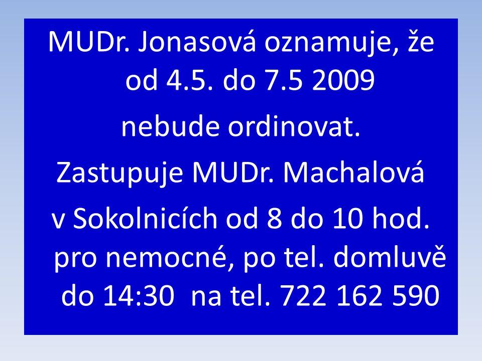MUDr. Jonasová oznamuje, že od 4.5. do 7.5 2009 nebude ordinovat.