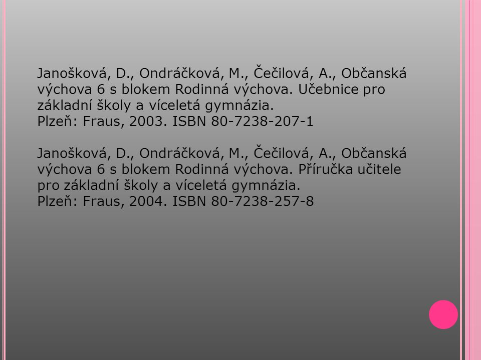 Janošková, D., Ondráčková, M., Čečilová, A., Občanská výchova 6 s blokem Rodinná výchova. Učebnice pro základní školy a víceletá gymnázia. Plzeň: Frau