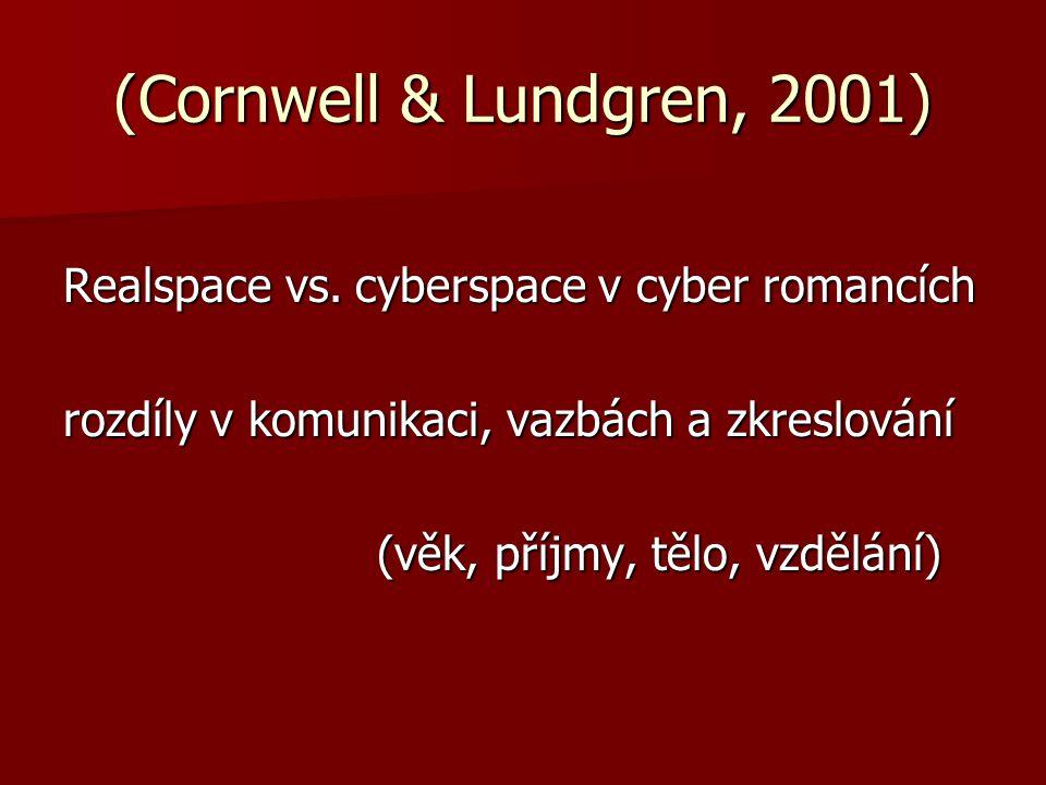 (Cornwell & Lundgren, 2001) Realspace vs. cyberspace v cyber romancích rozdíly v komunikaci, vazbách a zkreslování (věk, příjmy, tělo, vzdělání)
