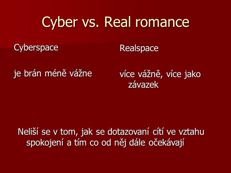 Cyber vs. Real romance Cyberspace je brán méně vážne Realspace více vážně, více jako závazek Neliší se v tom, jak se dotazovaní cítí ve vztahu spokoje