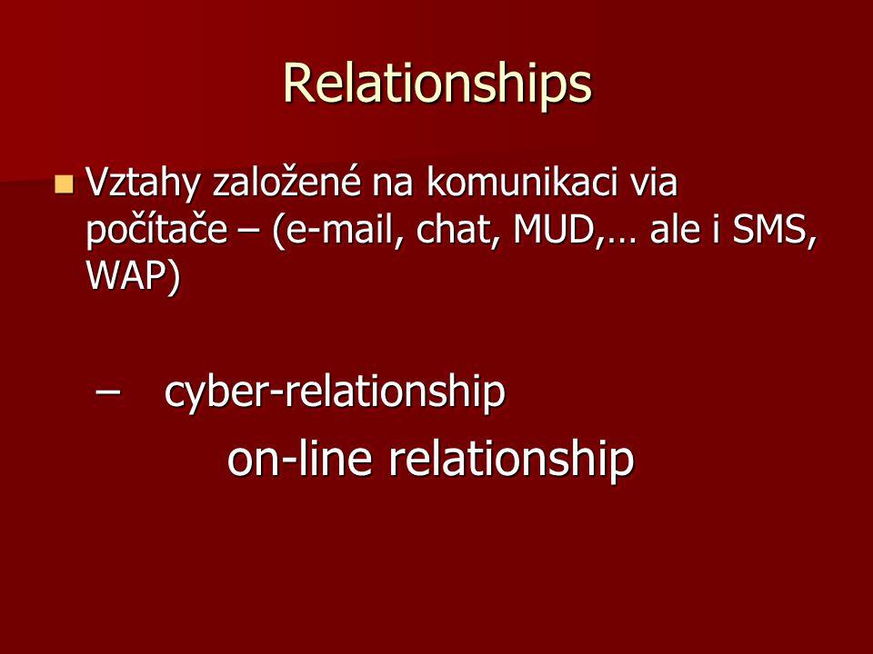 Relationships Vztahy založené na komunikaci via počítače – (e-mail, chat, MUD,… ale i SMS, WAP) Vztahy založené na komunikaci via počítače – (e-mail,