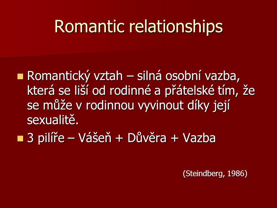 Romantic relationships Romantický vztah – silná osobní vazba, která se liší od rodinné a přátelské tím, že se může v rodinnou vyvinout díky její sexua
