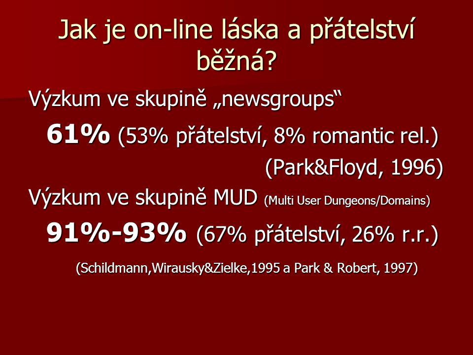 """Jak je on-line láska a přátelství běžná? Výzkum ve skupině """"newsgroups"""" 61% (53% přátelství, 8% romantic rel.) (Park&Floyd, 1996) Výzkum ve skupině MU"""