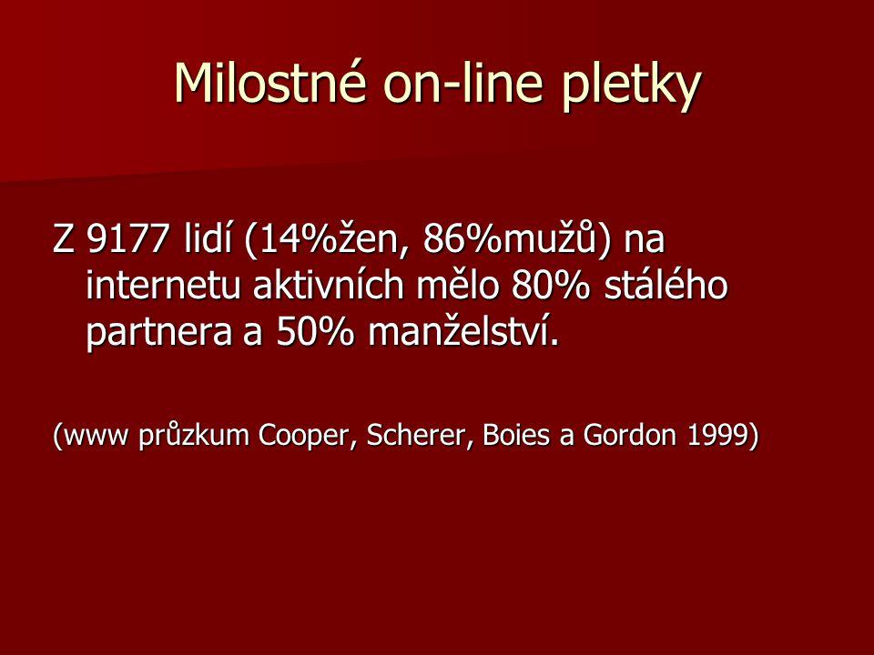 Milostné on-line pletky Z 9177 lidí (14%žen, 86%mužů) na internetu aktivních mělo 80% stálého partnera a 50% manželství. (www průzkum Cooper, Scherer,