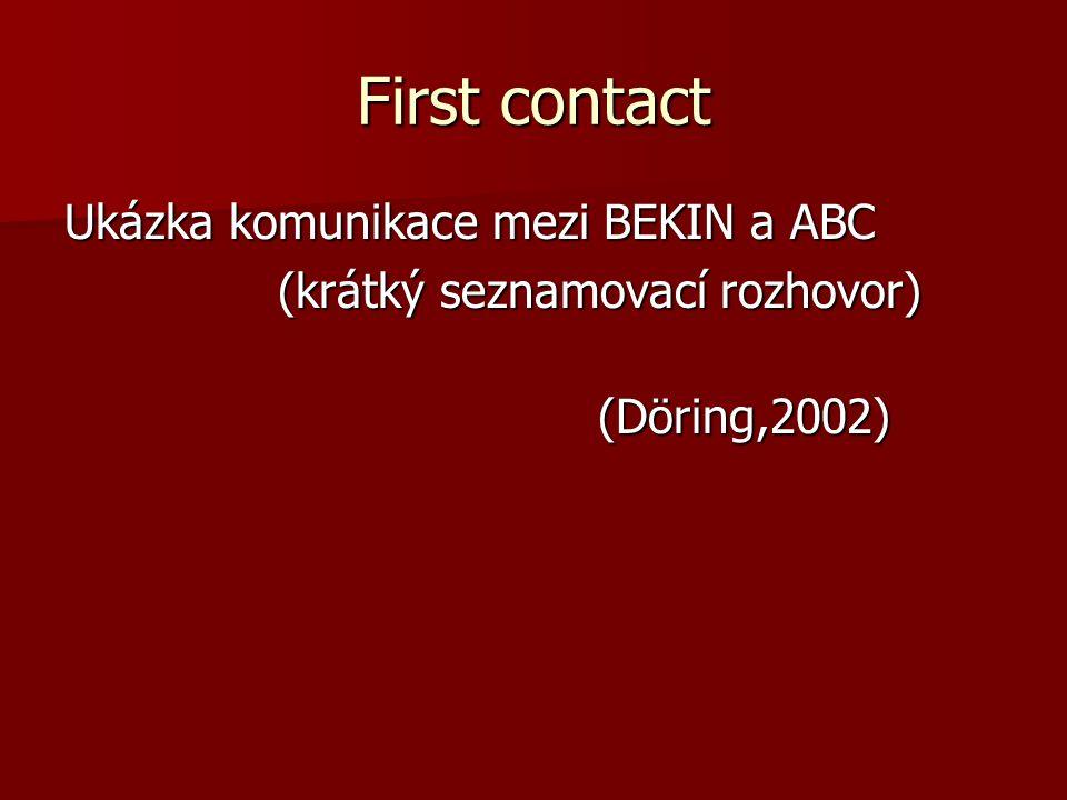 First contact Ukázka komunikace mezi BEKIN a ABC (krátký seznamovací rozhovor) (krátký seznamovací rozhovor) (Döring,2002)