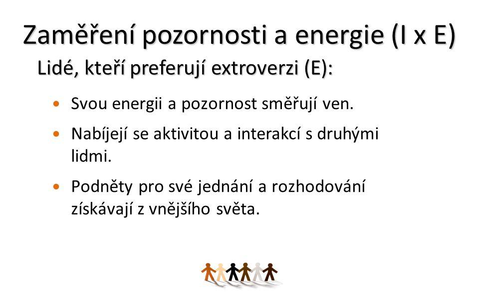 Zaměření pozornosti a energie (I x E) Svou energii a pozornost směřují ven.
