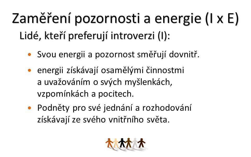 Zaměření pozornosti a energie (I x E) Svou energii a pozornost směřují dovnitř.