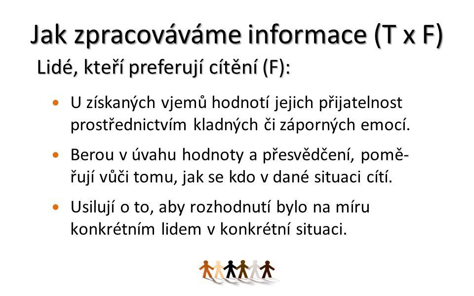Jak zpracováváme informace (T x F) U získaných vjemů hodnotí jejich přijatelnost prostřednictvím kladných či záporných emocí.
