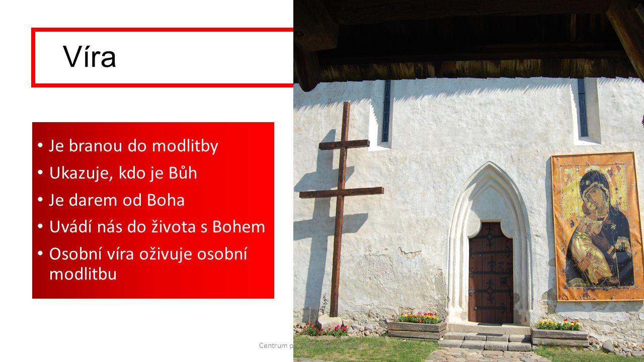Víra Je branou do modlitby Ukazuje, kdo je Bůh Je darem od Boha Uvádí nás do života s Bohem Osobní víra oživuje osobní modlitbu Centrum pro katechezi