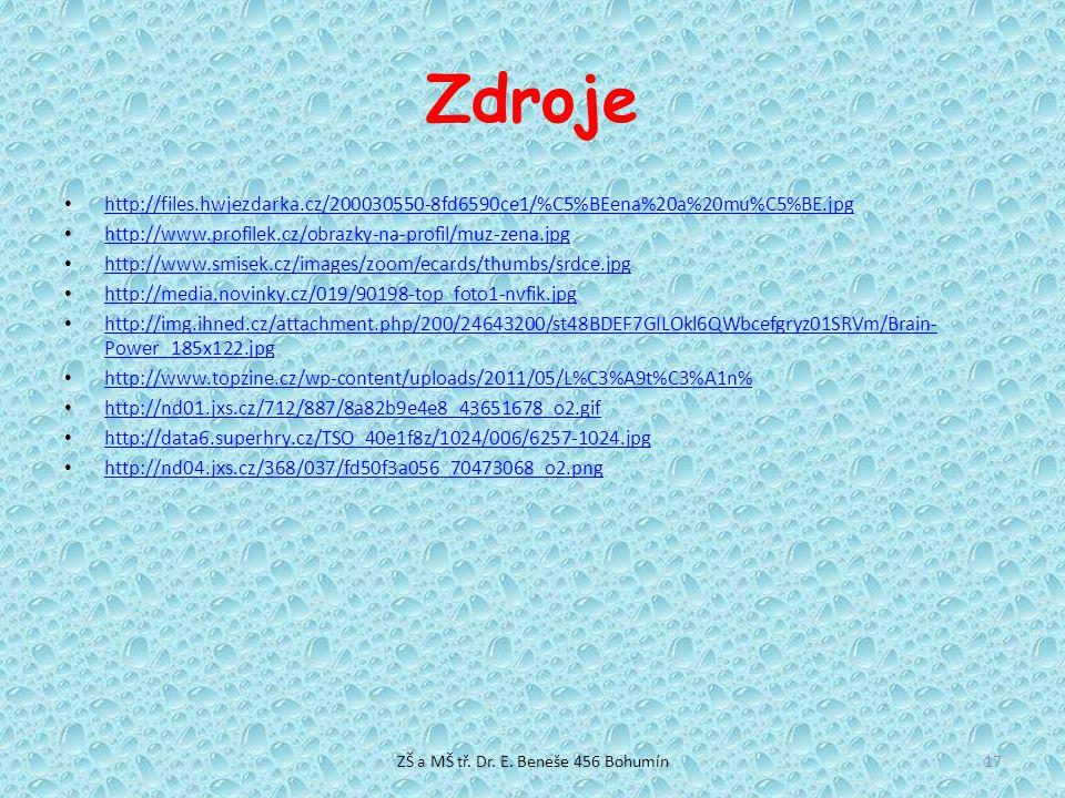 Zdroje http://files.hwjezdarka.cz/200030550-8fd6590ce1/%C5%BEena%20a%20mu%C5%BE.jpg http://www.profilek.cz/obrazky-na-profil/muz-zena.jpg http://www.s