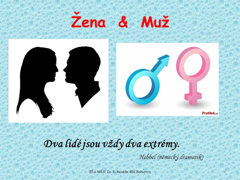 Žena & Muž Dva lidé jsou vždy dva extrémy. Hebbel (německý dramatik) 4ZŠ a MŠ tř. Dr. E. Beneše 456 Bohumín
