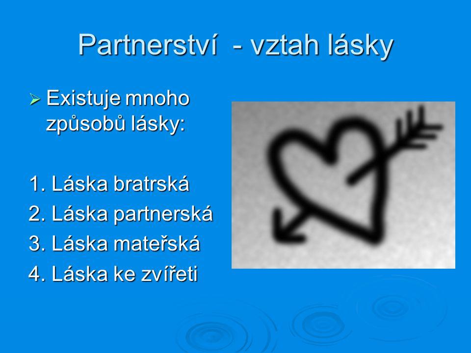 Partnerství - vztah lásky  Existuje mnoho způsobů lásky: 1. Láska bratrská 2. Láska partnerská 3. Láska mateřská 4. Láska ke zvířeti
