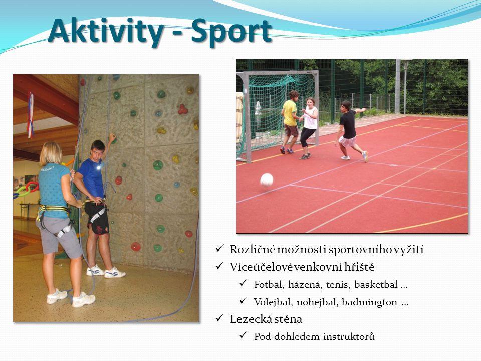 Aktivity - Sport Rozličné možnosti sportovního vyžití Víceúčelové venkovní hřiště Fotbal, házená, tenis, basketbal … Volejbal, nohejbal, badmington … Lezecká stěna Pod dohledem instruktorů