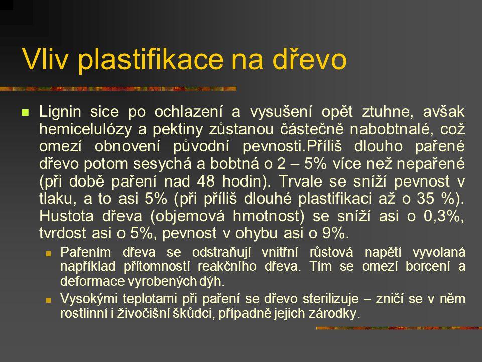 Vliv plastifikace na dřevo Trvalé změny jsou chemické a mechanické. Chemické změny nastávají v důsledku hydrolýzy (chemického rozkladu složitých látek
