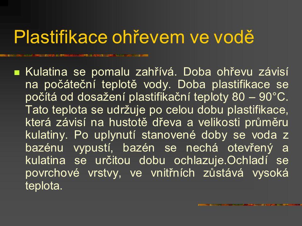 Plastifikace ohřevem ve vodě Ohřev ve vodě se provádí v bazénech uzavřených víky. Před plastifikací se kulatina odkorňuje, obvykle se příčně dělí na v