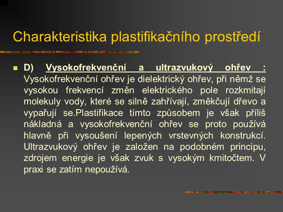 Charakteristika plastifikačního prostředí C) Amoniak, amoniakální voda : Amoniak vytváří prostředí, v němž se změkčují všechny složky dřeva a dřevo se