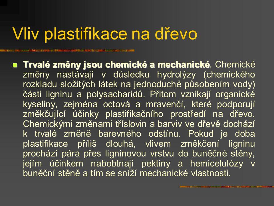 Vliv plastifikace na dřevo Účinkem vlhka a tepla vznikají ve dřevě dočasné a trvalé změny fyzikálně mechanické a chemické, které se využívají při dalš