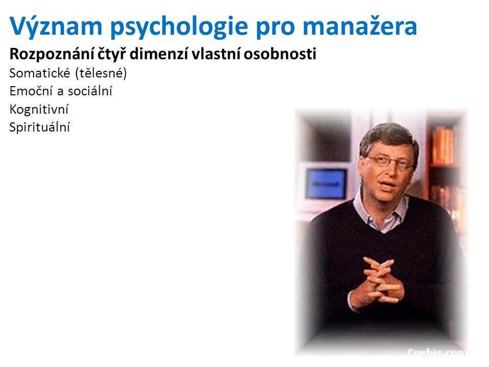 Význam psychologie pro manažera Rozpoznání čtyř dimenzí vlastní osobnosti Somatické (tělesné) Emoční a sociální Kognitivní Spirituální