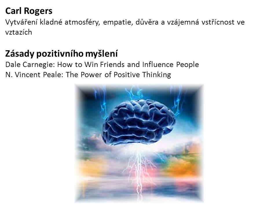 Carl Rogers Vytváření kladné atmosféry, empatie, důvěra a vzájemná vstřícnost ve vztazích Zásady pozitivního myšlení Dale Carnegie: How to Win Friends
