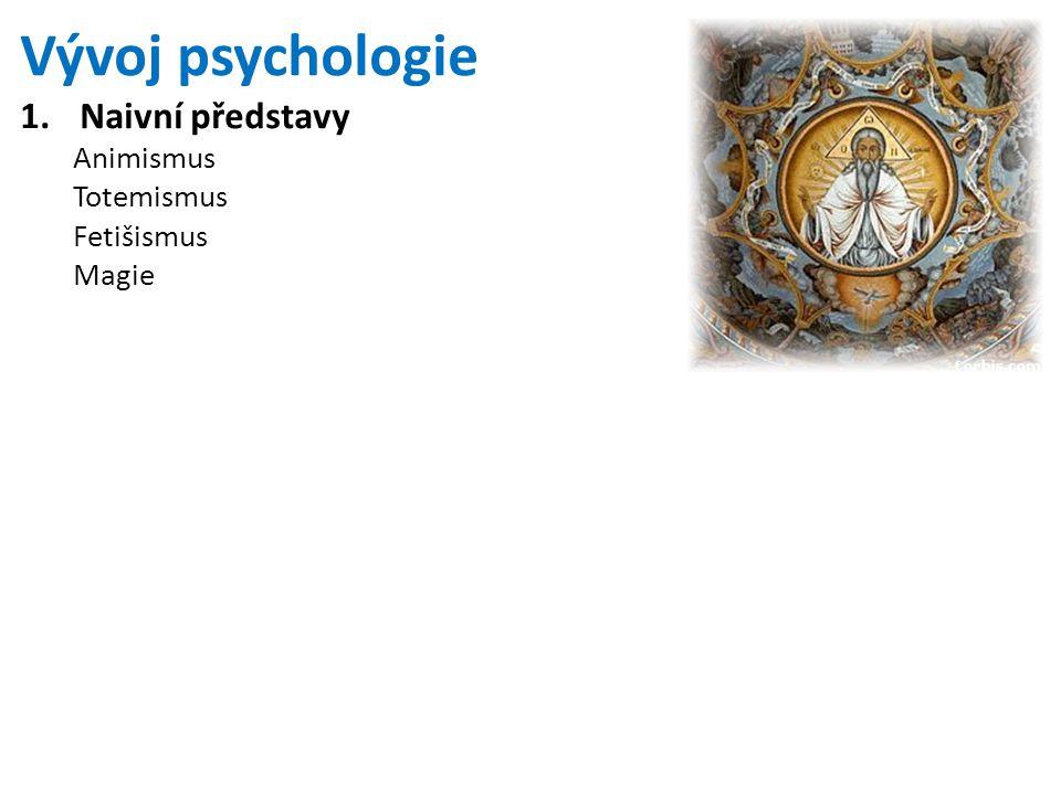 Vývoj psychologie 1.Naivní představy Animismus Totemismus Fetišismus Magie