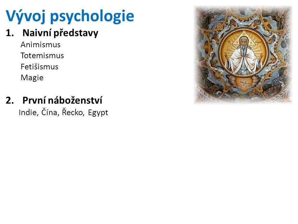 Vývoj psychologie 1.Naivní představy Animismus Totemismus Fetišismus Magie 2.První náboženství Indie, Čína, Řecko, Egypt