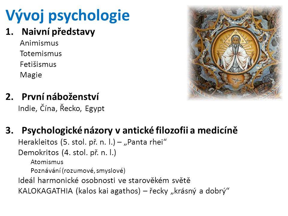 Vývoj psychologie 1.Naivní představy Animismus Totemismus Fetišismus Magie 2.První náboženství Indie, Čína, Řecko, Egypt 3.Psychologické názory v anti