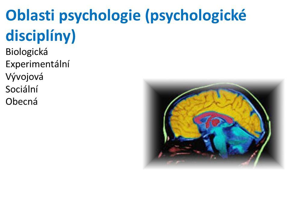 Oblasti psychologie (psychologické disciplíny) Biologická Experimentální Vývojová Sociální Obecná