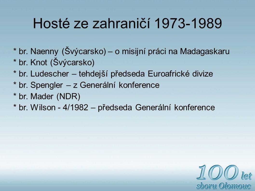 Hosté ze zahraničí 1973-1989 * br.Naenny (Švýcarsko) – o misijní práci na Madagaskaru * br.