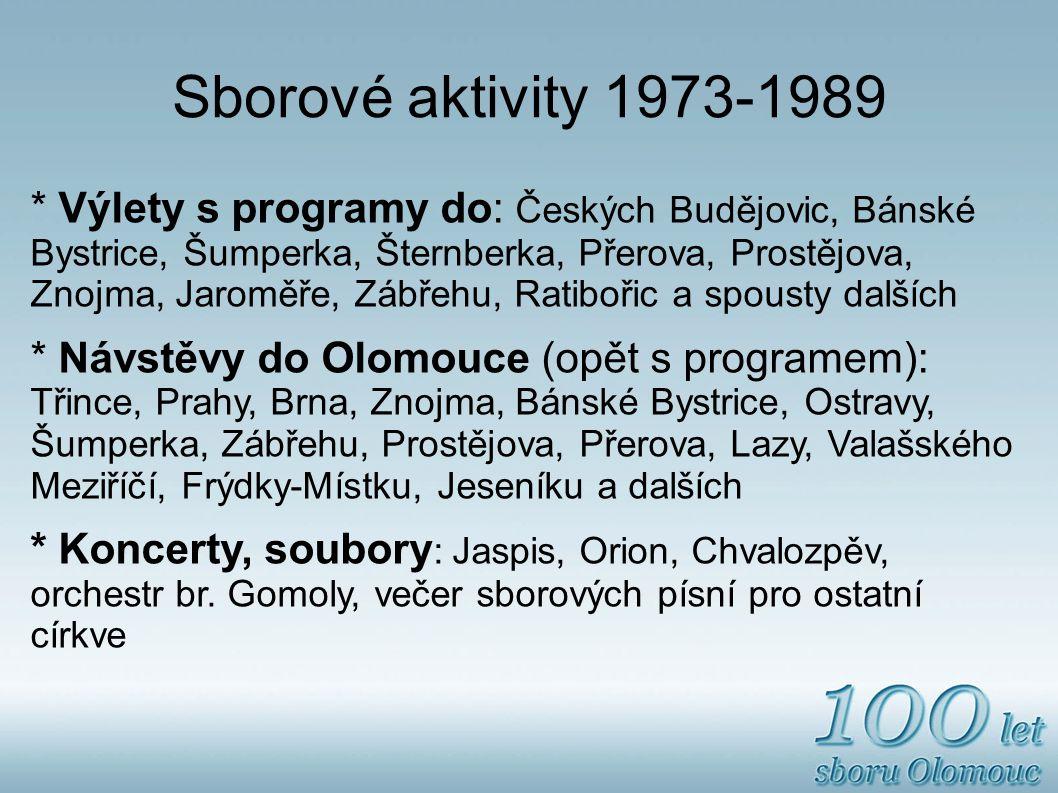 Sborové aktivity 1973-1989 * Výlety s programy do: Českých Budějovic, Bánské Bystrice, Šumperka, Šternberka, Přerova, Prostějova, Znojma, Jaroměře, Zábřehu, Ratibořic a spousty dalších * Návstěvy do Olomouce (opět s programem): Třince, Prahy, Brna, Znojma, Bánské Bystrice, Ostravy, Šumperka, Zábřehu, Prostějova, Přerova, Lazy, Valašského Meziříčí, Frýdky-Místku, Jeseníku a dalších * Koncerty, soubory : Jaspis, Orion, Chvalozpěv, orchestr br.