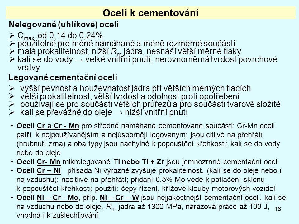 18 Oceli k cementování Nelegované (uhlíkové) oceli  C max. od 0,14 do 0,24%  použitelné pro méně namáhané a méně rozměrné součásti  malá prokalitel