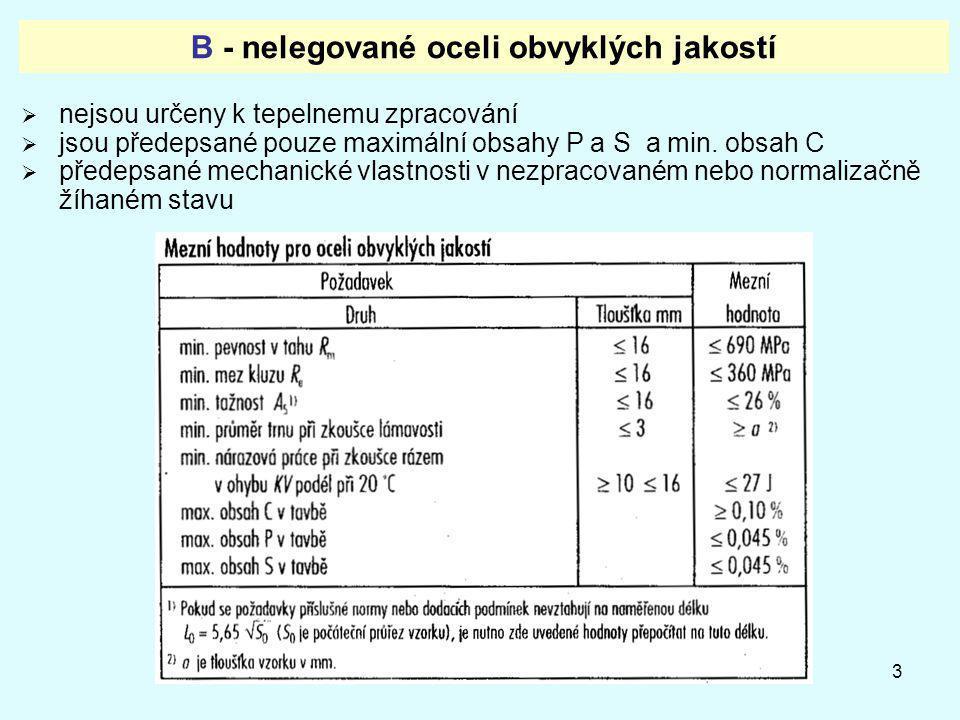 3 B - nelegované oceli obvyklých jakostí  nejsou určeny k tepelnemu zpracování  jsou předepsané pouze maximální obsahy P a S a min. obsah C  předep