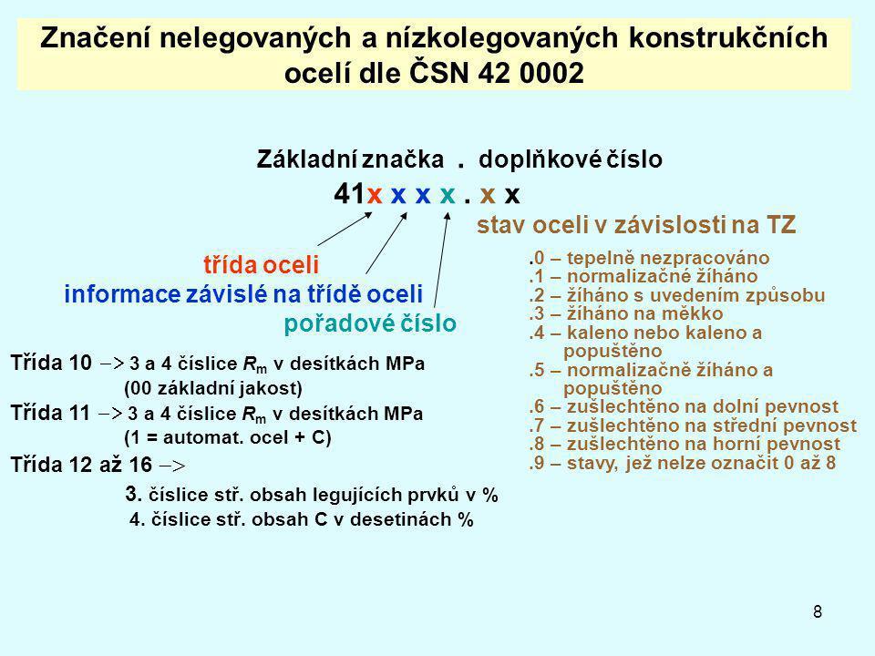 8 Značení nelegovaných a nízkolegovaných konstrukčních ocelí dle ČSN 42 0002 Základní značka. doplňkové číslo 41x x x x. x x stav oceli v závislosti n