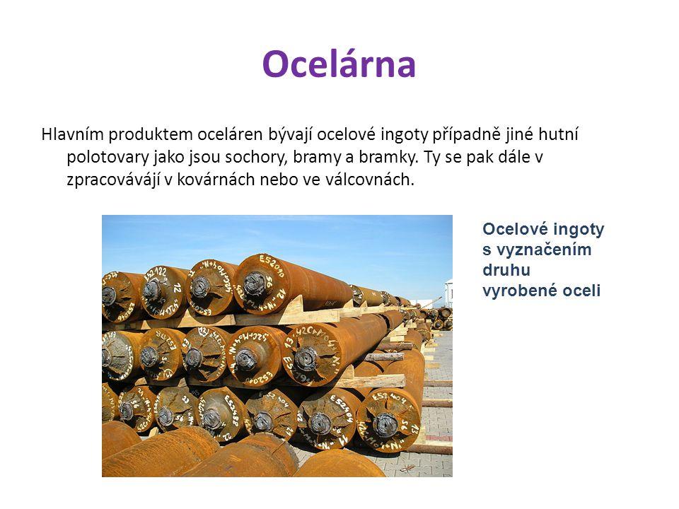 Ocelárna Hlavním produktem oceláren bývají ocelové ingoty případně jiné hutní polotovary jako jsou sochory, bramy a bramky.