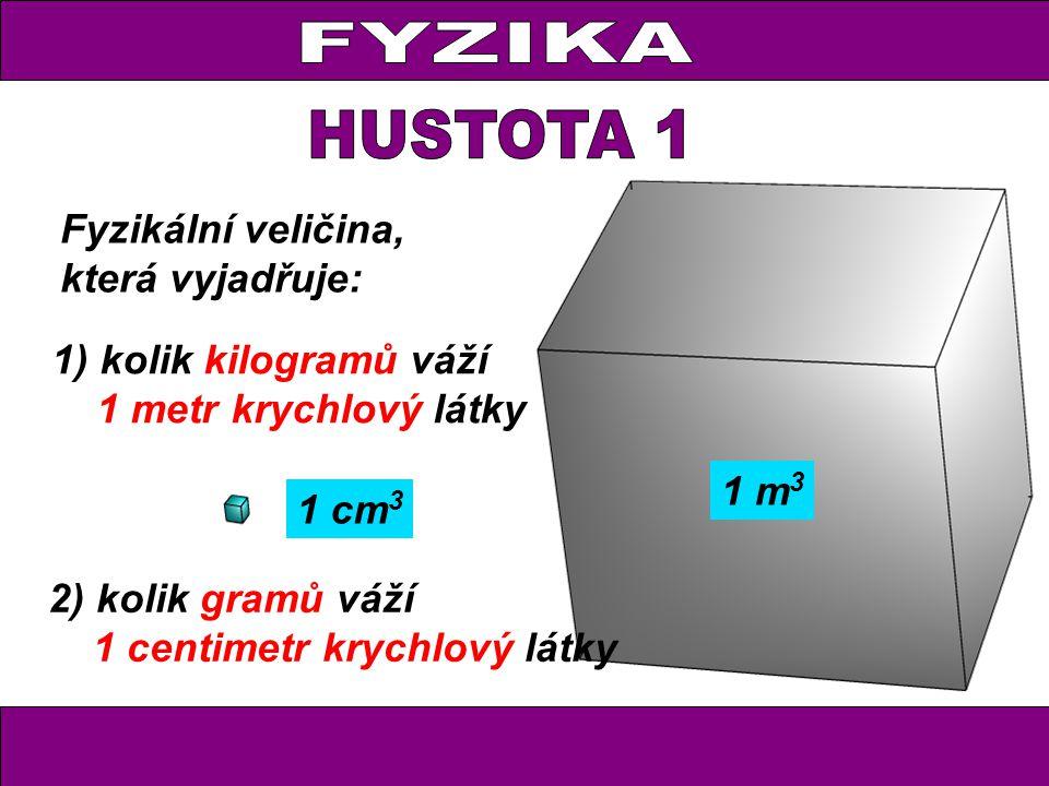 Dřevěná kostka o objemu 32 cm 3 má hmotnost 16 g.