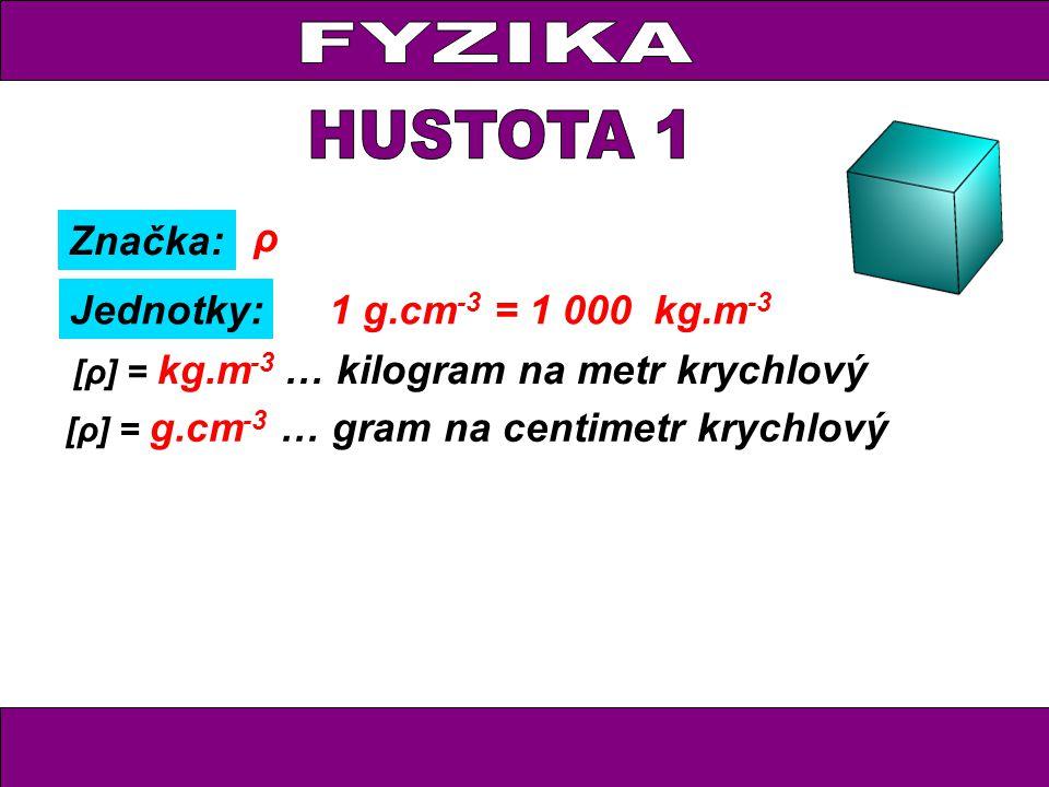 Značka: Jednotky: ρ [ρ] = g.cm -3 … gram na centimetr krychlový Příklad: [ρ] = kg.m -3 … kilogram na metr krychlový ρ = 1 g.cm -3 voda ρ = 1 000 kg.m -3 1 g.cm -3 = 1 000 kg.m -3