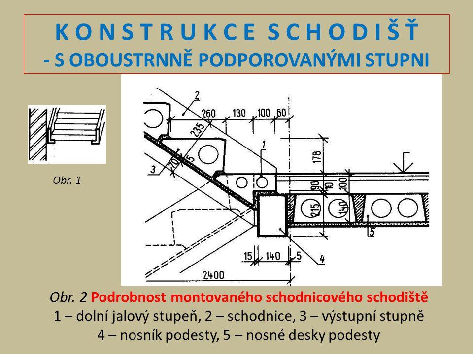 K O N S T R U K C E S C H O D I Š Ť - S OBOUSTRNNĚ PODPOROVANÝMI STUPNI Obr. 2 Podrobnost montovaného schodnicového schodiště 1 – dolní jalový stupeň,