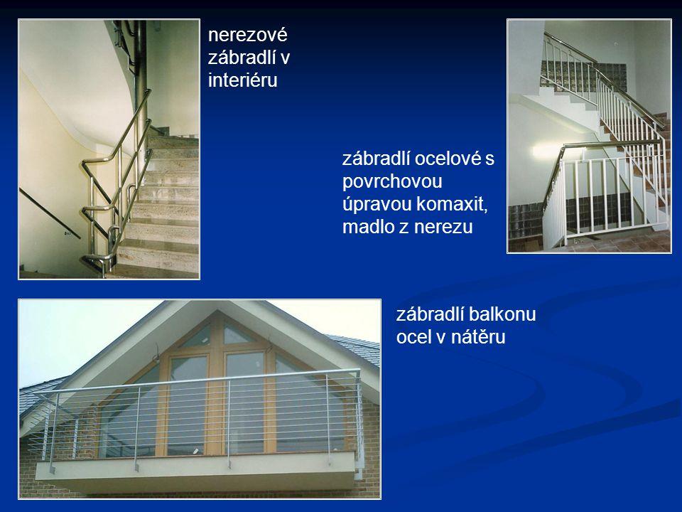 nerezové zábradlí v interiéru zábradlí ocelové s povrchovou úpravou komaxit, madlo z nerezu zábradlí balkonu ocel v nátěru