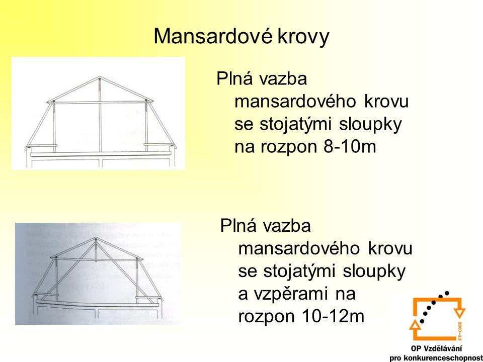 Stojatá stolice – sedlová střecha 6-8 m 7-12 m 12-16 m