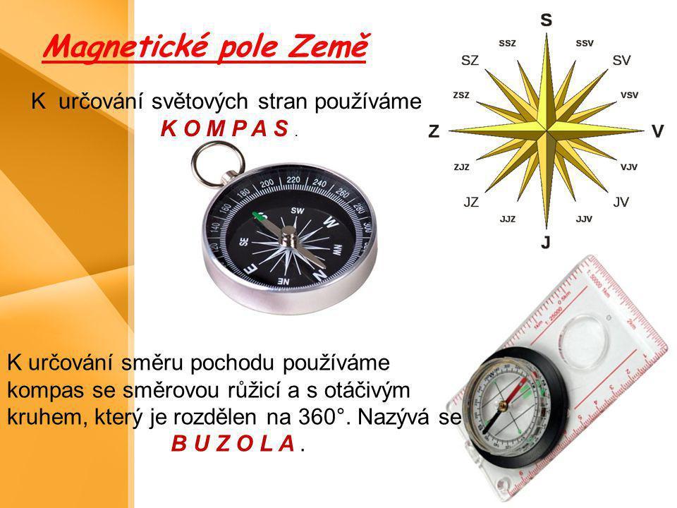 Magnetické pole Země K určování světových stran používáme K O M P A S. K určování směru pochodu používáme kompas se směrovou růžicí a s otáčivým kruhe
