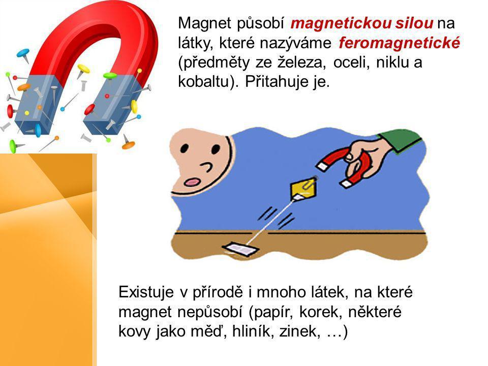 Magnet působí magnetickou silou na látky, které nazýváme feromagnetické (předměty ze železa, oceli, niklu a kobaltu). Přitahuje je. Existuje v přírodě