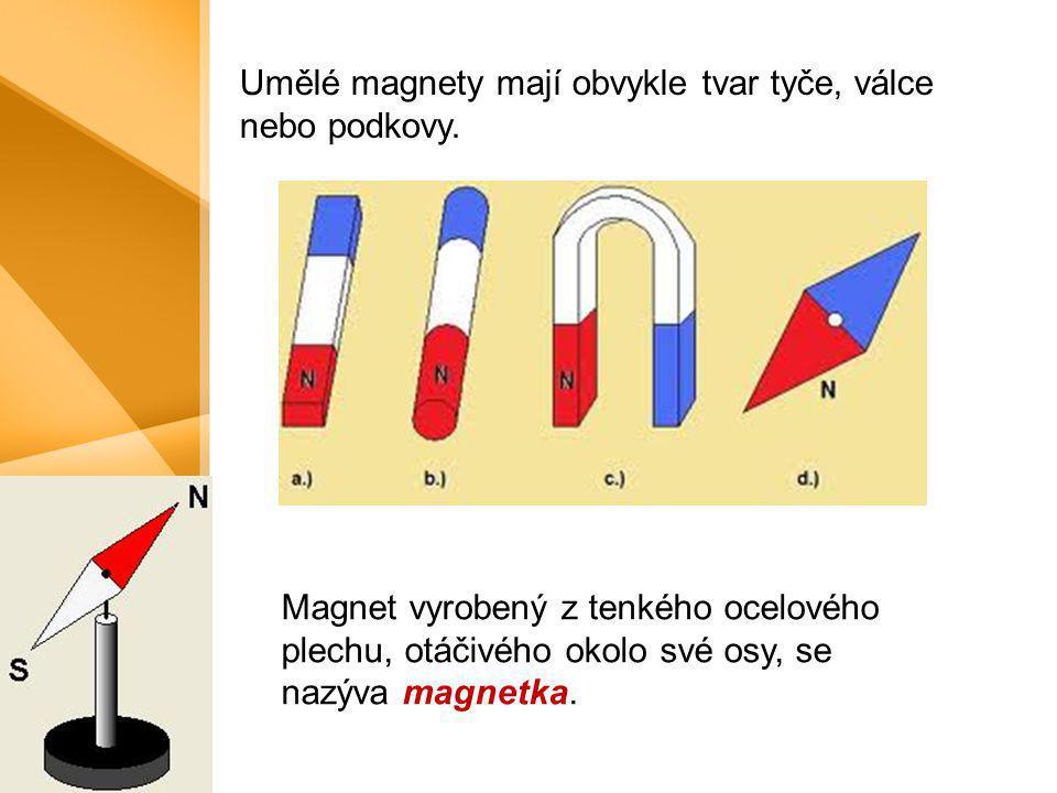 Umělé magnety mají obvykle tvar tyče, válce nebo podkovy. Magnet vyrobený z tenkého ocelového plechu, otáčivého okolo své osy, se nazýva magnetka.