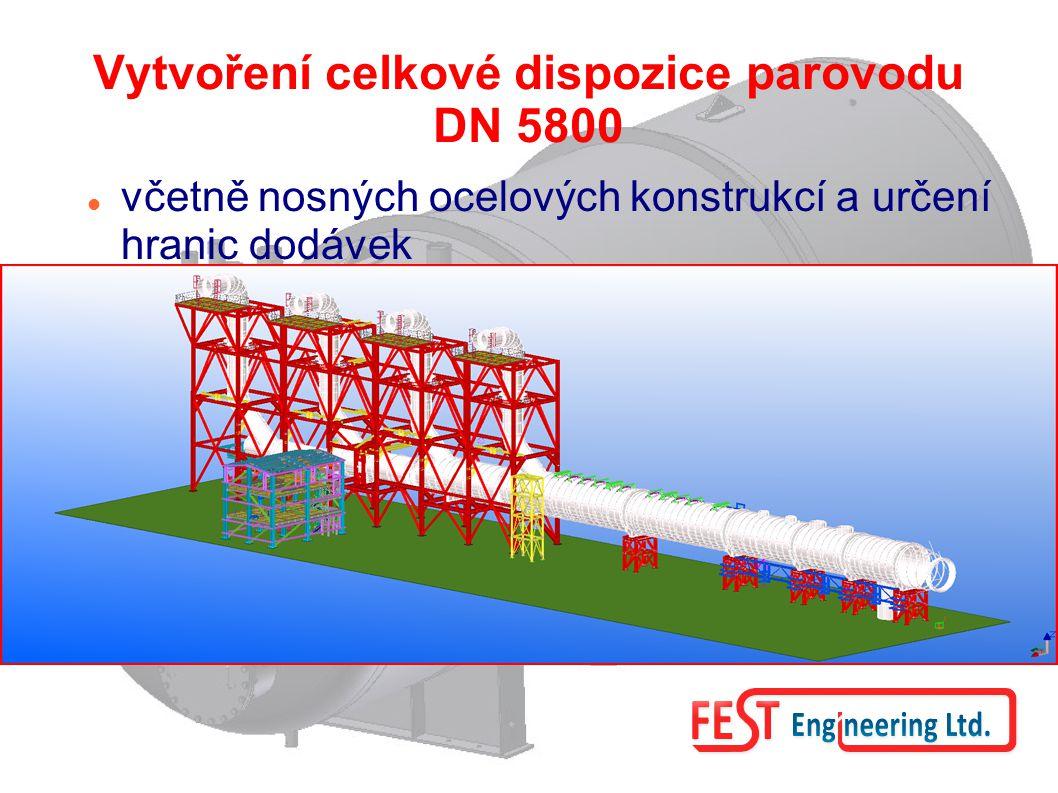 Vytvoření celkové dispozice parovodu DN 5800 včetně nosných ocelových konstrukcí a určení hranic dodávek