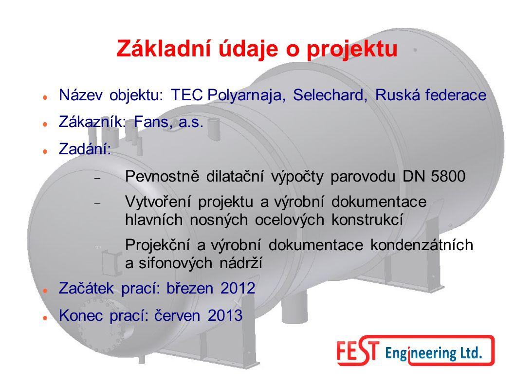 Základní údaje o projektu Název objektu: TEC Polyarnaja, Selechard, Ruská federace Zákazník: Fans, a.s. Zadání:  Pevnostně dilatační výpočty parovodu