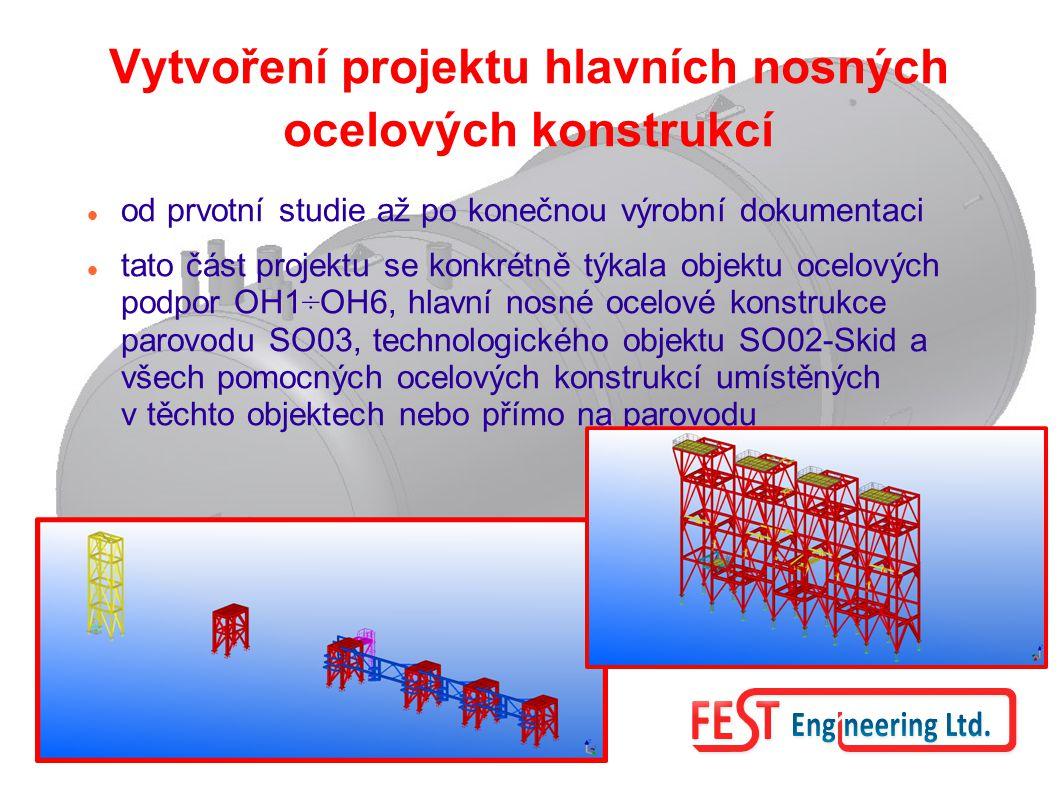 Vytvoření projektu hlavních nosných ocelových konstrukcí od prvotní studie až po konečnou výrobní dokumentaci tato část projektu se konkrétně týkala o