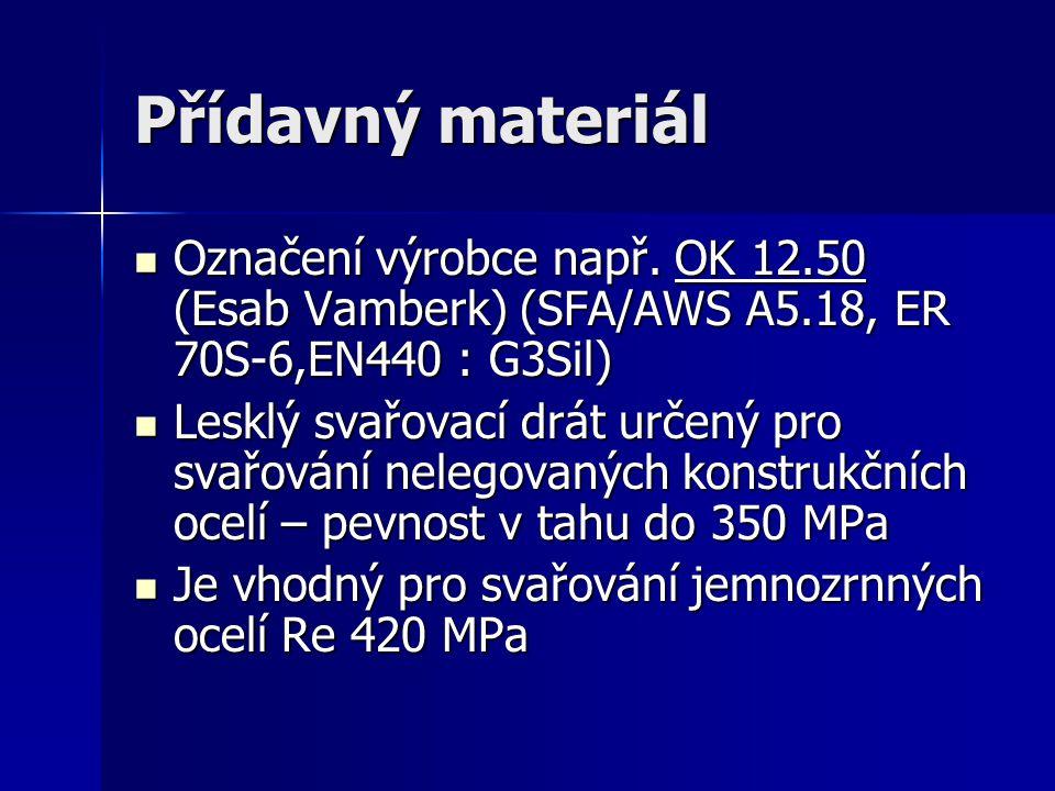 Evropské značení svarového kovu EN 440-G 42 3 M G3Sil EN 440-G 42 3 M G3Sil EN 440 – evropská norma – dráty a svarové kovy pro obloukové svařování nelegovaných a jemnozrnných ocelí – tavící se elektroda, plyn MAG EN 440 – evropská norma – dráty a svarové kovy pro obloukové svařování nelegovaných a jemnozrnných ocelí – tavící se elektroda, plyn MAG G – gas, ochranný plyn G – gas, ochranný plyn 42 – označení meze kluzu Re = 420 MPa 42 – označení meze kluzu Re = 420 MPa 3 = označení nárazové práce svarového kovu = 47J do -30°C 3 = označení nárazové práce svarového kovu = 47J do -30°C M = označení ochranného plynu = směsný plyn (C = ochranný plyn CO 2 ) M = označení ochranného plynu = směsný plyn (C = ochranný plyn CO 2 ) G3Sil = označení chemického složení drátu G3Sil = označení chemického složení drátu