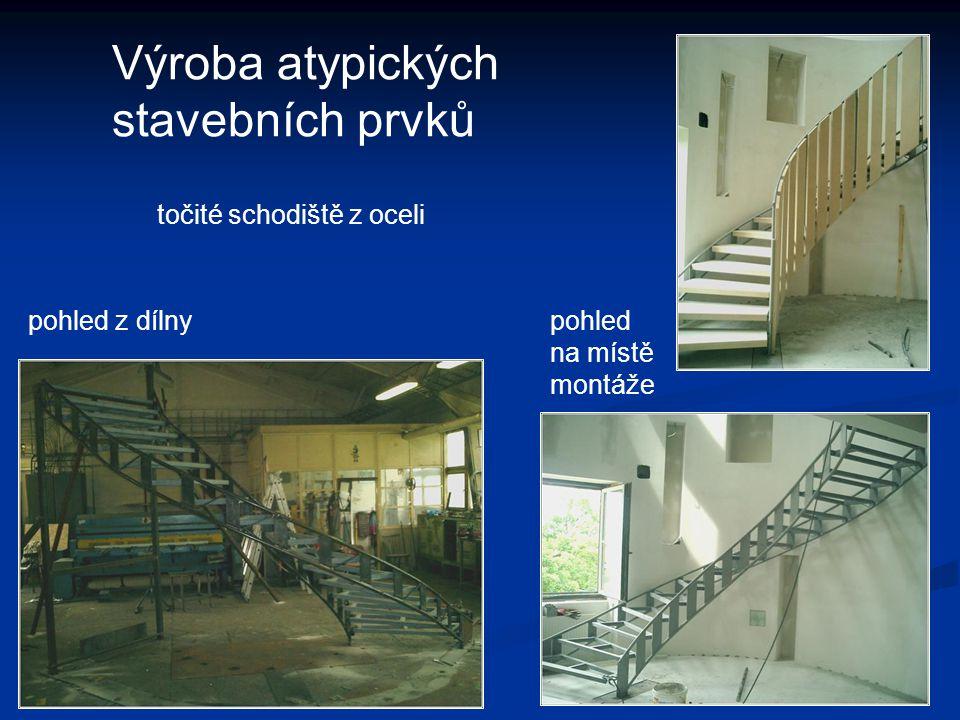 Výroba atypických stavebních prvků pohled z dílnypohled na místě montáže točité schodiště z oceli