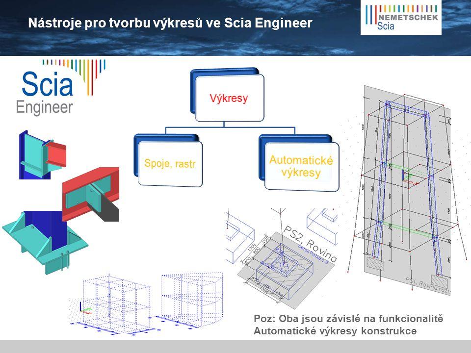 Nástroje pro tvorbu výkresů ve Scia Engineer Poz: Oba jsou závislé na funkcionalitě Automatické výkresy konstrukce