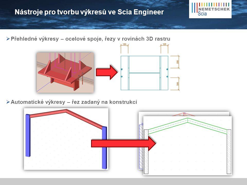 Nástroje pro tvorbu výkresů ve Scia Engineer  Automatické výkresy – řez zadaný na konstrukci  Přehledné výkresy – ocelové spoje, řezy v rovinách 3D
