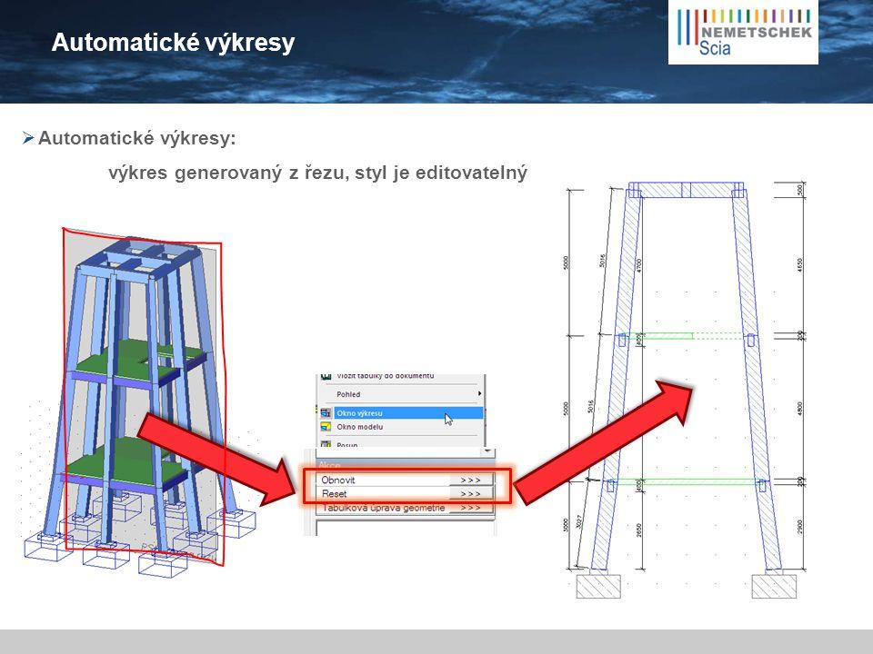 Automatické výkresy  Automatické výkresy: výkres generovaný z řezu, styl je editovatelný