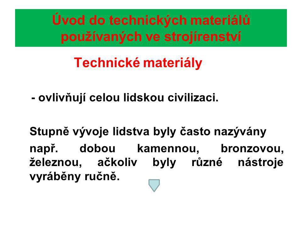 Úvod do technických materiálů používaných ve strojírenství Technické materiály - ovlivňují celou lidskou civilizaci.